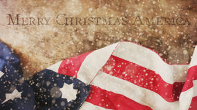 Merry Christmas America. Flag and Wood. Merry Christmas America. Flag Snow and Wood Stock Photo