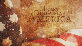 Merry Christmas America. Snow and Flag. On Wood Stock Images