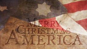 Merry Christmas America. Usa Flag. And Wood Stock Photography