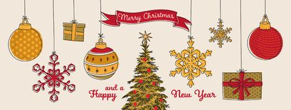 Free Merry Christmas And A Happy New Year, Christmas Ornaments In Gold, Green And Red Colors, Suspended Baubles, Stars, Gift Boxes Royalty Free Stock Image - 160742506