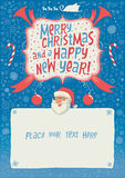 Merry Christmas And A Happy New Year Greeting Card, Poster Or Background For Party Invitation With Hand Lettering Typography. Royalty Free Stock Image