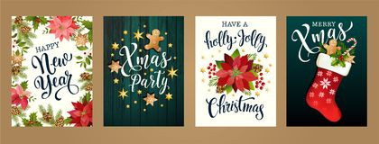 Merry Christmas And Happy New Year 2019 White And Black Colors. Design For Poster, Card, Invitation, Card, Flyer, Brochure. Vector Royalty Free Stock Images