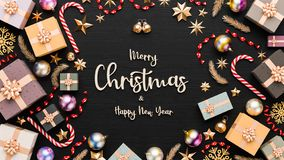 Free Merry Christmas And Happy New Year Background. Christmas Background Design With Ornaments On Black Background. 3D Illustration Royalty Free Stock Photos - 160020978