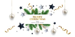 Free Merry Christmas And Happy New Year Banner Royalty Free Stock Photography - 134315307