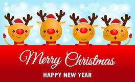 Free Merry Christmas And Happy New Year, Cheerful Group Of Reindeer Wearing Christmas Hats Holding Big Sign Board In Christmas Snow Royalty Free Stock Photography - 198886707