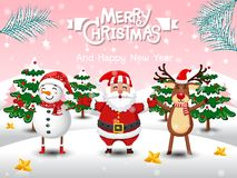 Free Merry Christmas And Happy New Year. Cute Snowman, Reindeer, Santa Claus In Christmas Snow Scene Winter Landscape. Decorative Stock Photo - 134074440