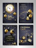 Merry Christmas And Happy New Year Flyers Set Royalty Free Stock Photos