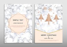 Merry Christmas And Happy New Year Greeting Card Design Template. Royalty Free Stock Photo