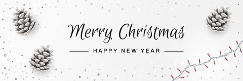 Merry Christmas And Happy New Year Invitation. Christmas Background With Pinecones, String Lights, Caligraphy Text. Creative Stock Image