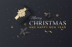 Merry Christmas And Happy New Year On Background Typography And Royalty Free Stock Photography