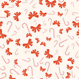 Merry Christmas And Happy New Year Seamless Retro Pattern. With Candy Canes, Bows Ribbons. Vector Collection Stock Photo