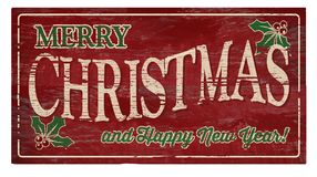 Free Merry Christmas And Happy New Year Wood Plaque Stock Images - 119699884
