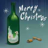 Merry Christmas angel in wine bottle Stock Images