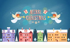 Merry Christmas Angels New Year Eve Night Sky Royalty Free Stock Photos