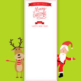 Merry christmas anta claus and reindeer banner vector. illustrat Royalty Free Stock Photos