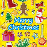Merry Christmas Around Seamless Pattern_eps. Illustration of Christmas items around and vertical of Merry Christmas word with yellow and stars background Royalty Free Stock Image