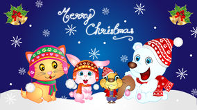 Merry Christmas Baby Animals Wallpaper Stock Image