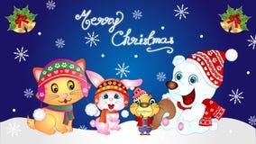 Merry Christmas Baby Animals Wallpaper Stock Image