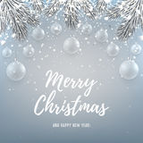 Merry Christmas backdrop with glass toys. Elegant vector illustration with a congratulation. Happy New Year background with silver confetti and shining lights royalty free illustration