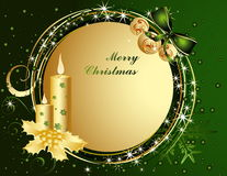 Merry Christmas background. Green and gold Merry Christmas background stock illustration