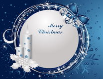 Merry Christmas background. Blue and silver Merry Christmas background stock illustration