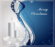 Merry Christmas background. Blue and silver Merry Christmas background royalty free illustration