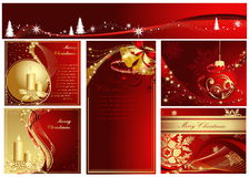 Merry Christmas background. Red and gold Merry Christmas collection vector illustration