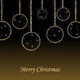 Merry christmas background. A christmas background with hanging christmas-balls with stars and a merry christmas text with reflex.EPS file is available Royalty Free Stock Photo