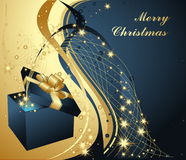 Merry Christmas background. Blue and silver stock illustration