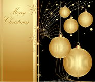 Merry Christmas background. Gold and black vector illustration