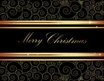Merry Christmas background. Gold and black stock illustration