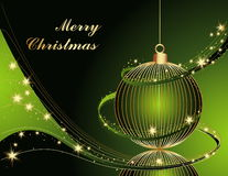 Merry Christmas background. Gold and green Royalty Free Stock Photos