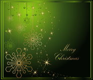 Merry Christmas background. Gold and green vector illustration