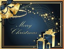 Merry Christmas background. Blue and gold Royalty Free Stock Photography