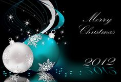 Merry Christmas  background. Silver and blue Stock Image