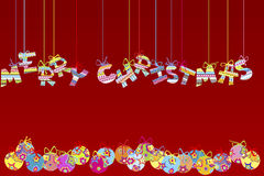 Merry Christmas background. With globes Royalty Free Stock Image