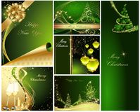 Merry Christmas background. Collections gold and green stock illustration