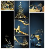 Merry Christmas background. Collections gold and blue vector illustration
