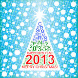 Merry Christmas background. Christmas tree made up of letters Stock Illustration