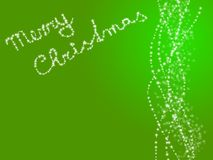 Merry christmas background. Lighting bulbs at green background with christmas description Stock Photography