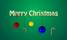 Merry Christmas background with balls and candy ri Royalty Free Stock Images