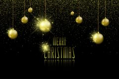 Merry Christmas background with christmas balls and lights. Stock vector Royalty Free Stock Image