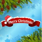Merry christmas background banner and christmas tree Stock Image