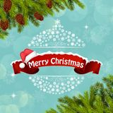 Merry christmas background banner and christmas tree Royalty Free Stock Images