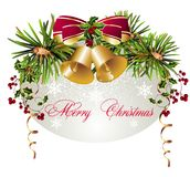 Merry Christmas background with bells Stock Photos