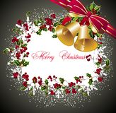 Merry Christmas background with bells and holly Stock Photos