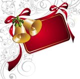 Merry Christmas background with bells and ribbons. Frame  christmas holiday holly bell floral ribbon bow Royalty Free Stock Photos