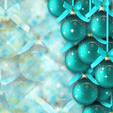 Merry christmas background. Blue Christmas balls with ribbons and bows Stock Photography