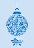 Merry Christmas 2014 background. Blue bauble filled with festive signs on top of Merry Christmas 2014 message royalty free illustration