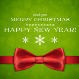 Merry Christmas background with bow and snowflakes Stock Photos